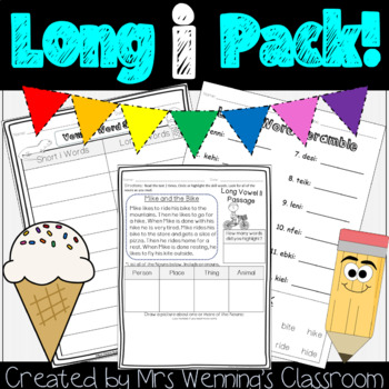 Long i Pack! A Full Week of Lesson Plans, Word Work, and Activities!