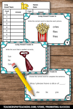 ie Long Vowel Activities, Phonics Task Cards Games SCOOT