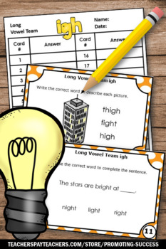 igh Words, Long i Vowels Task Cards, 1st Grade Phonics Review, Word Work