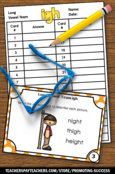Long i Activities with igh Words, Long Vowel Team Task Cards SCOOT