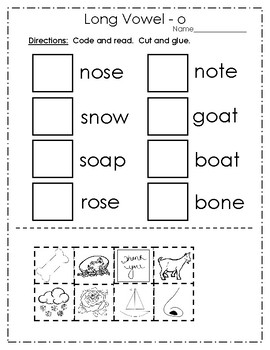 Long Vowel o Practice Pages