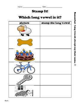 Long Vowel- picture/stamp center or worksheet