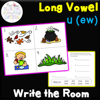 Long Vowel u ew Write the Room Activity