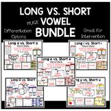 Long Vowel vs. Short Vowel Word Work BUNDLE