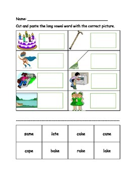 Long Vowel with Silent E cut and pastes