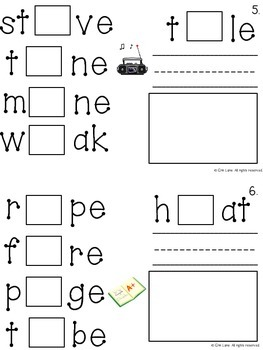 Long Vowel (with pictures) Interactive Logic Book