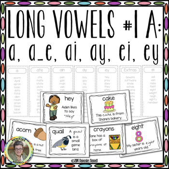 Long Vowels #1 A:  a, a_e, ai, ay, ei, ey, and y  Interactive ...