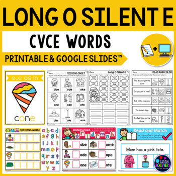 Long Vowel Worksheets and Activities (CVCE Words) - Long O Silent E