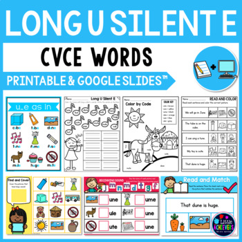 Long Vowel Worksheets and Activities (CVCE Words) - Long U Silent E