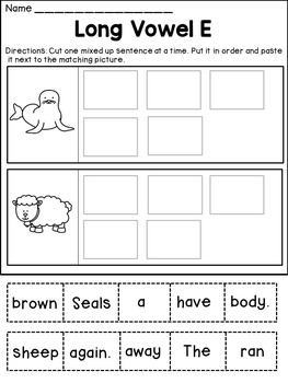 Long Vowels Worksheets Cut and Paste