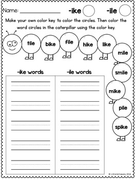 Long Vowel Sort Worksheets