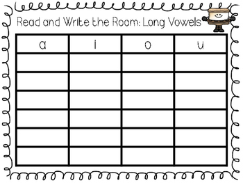 Long Vowels A I O and U with Silent E Read and Write the Room