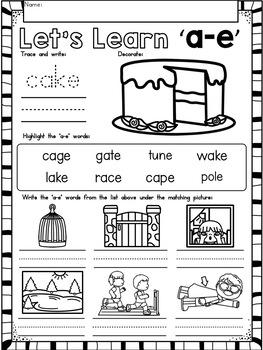 CVCE Words and Vowel Teams ~ Long Vowels No Prep Phonics Printables BUNDLE