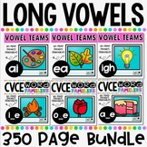CVCE Words and Vowel Teams ~ Long Vowels No Prep Phonics Printables BUNDLE