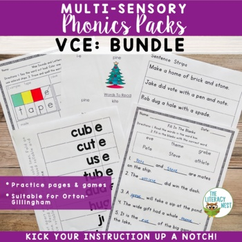 VCE Long Vowels Orton-Gillingham Multisensory Phonics Activities Level 1