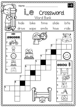 BUNDLE Long Vowels CVCE Words Worksheets - NO PREP Printables