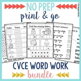 NO PREP Phonics Worksheets Long Vowels CVCe Word Work BUNDLE