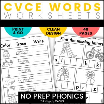 NO PREP Long Vowels CVCe Word Worksheets | CVCe Word Work BUNDLE