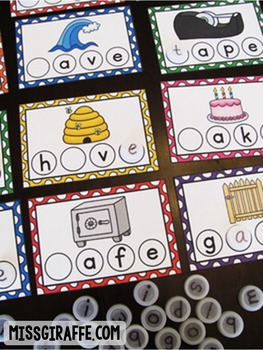 Long Vowels CVCe Words Bottle Cap Centers BUNDLE