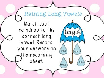 Long Vowels Center - Spring Themed Centers