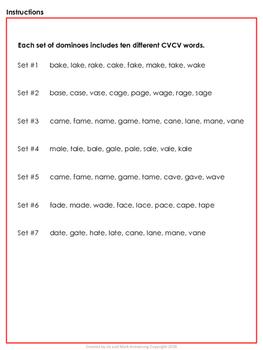 Long Vowels Dominoes CVCV - Long A