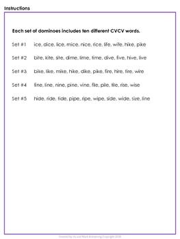 Long Vowels Dominoes CVCV - Long I