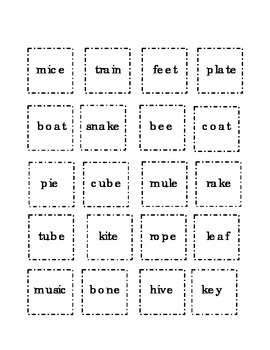 Long Vowels Flash Cards Cut Paste Match a e i o u  Kindergarten Sight Words