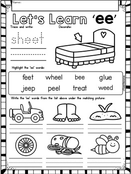 Long Vowels 'ee' No Prep Printables FREEBIE