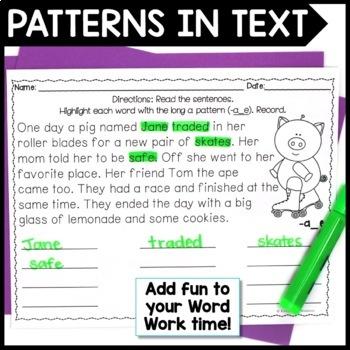 Long Vowel Word Work: Highlight & Record