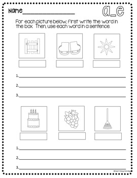 Word Work  ~ Spelling ~ Long Vowels Worksheets and Practice with Application