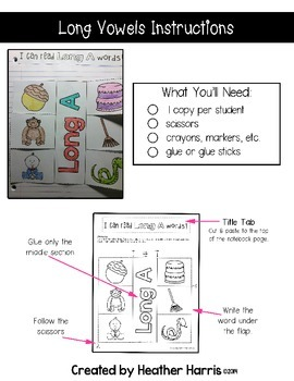 Long Vowels Interactive Notebook Pages