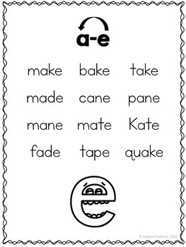 Long Vowels Phonics Posters and Word Lists