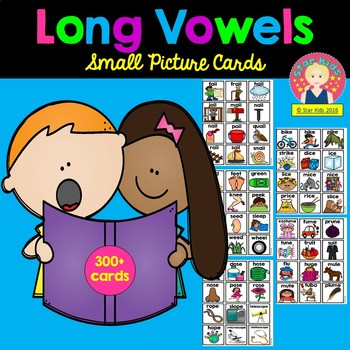 Long Vowels Picture Cards for Small Pocket Charts for Kindergarten and 1st Grade