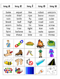 Long Vowels Picture and Word Sort