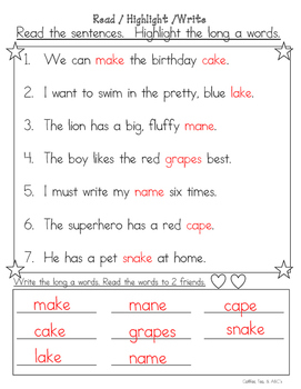 Long Vowels..Read, Highlight, and Write