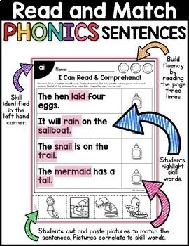 Long Vowels: Read & Match Sentences with Long Vowels