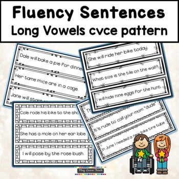 Fluency Sentences Long Vowels cvce Reading Intervention