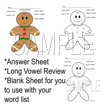 Long Vowels Review Winter Review Color by Code Common Core