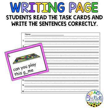 Sentence Editing Task Cards (Long Vowels) for First and Second Graders