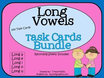 Long Vowels Task Cards Bundle- 100 Task Cards