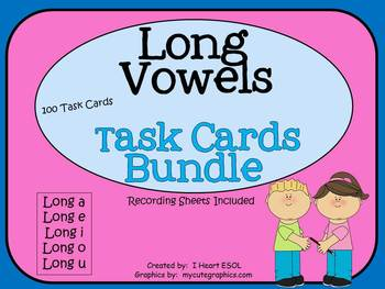 Long Vowels Task Cards Bundle- 100 Task Cards