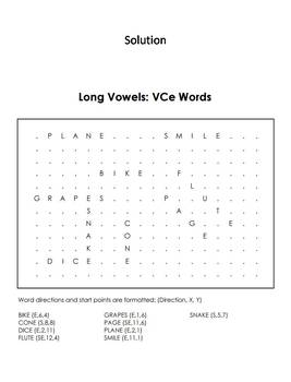 Long Vowels: VCe Words Word Search