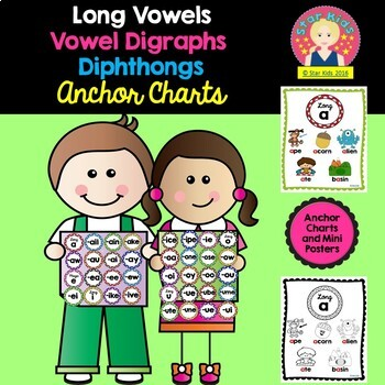 Long Vowels, Vowel Diagraphs, and Diphthongs Anchor Charts for Kindergarten and