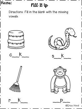 Long Vowels Word Work