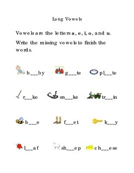 Long Vowels a e i o u  Fill in the Blanks Kindergarten Vowels Sight Words