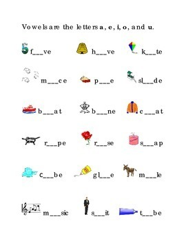 Long Vowels a e i o u  Fill in the Blanks Kindergarten Vow