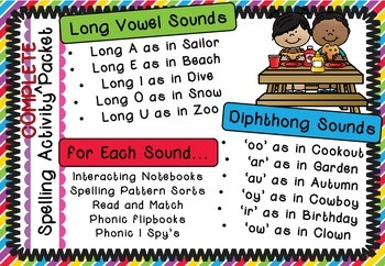 Long Vowels and Diphthongs - Spelling Activity Complete Packet