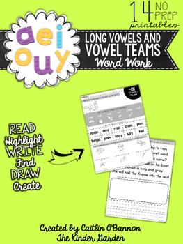 Long Vowels and Vowel Teams Word Work Printables