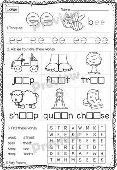 Long Vowels and Vowel Teams Workbook