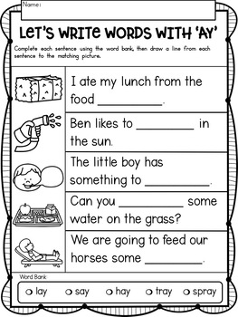 AY Vowel Teams No Prep Phonics Printables with Color Posters